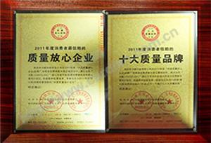 质量放心企业十大质量品牌证书